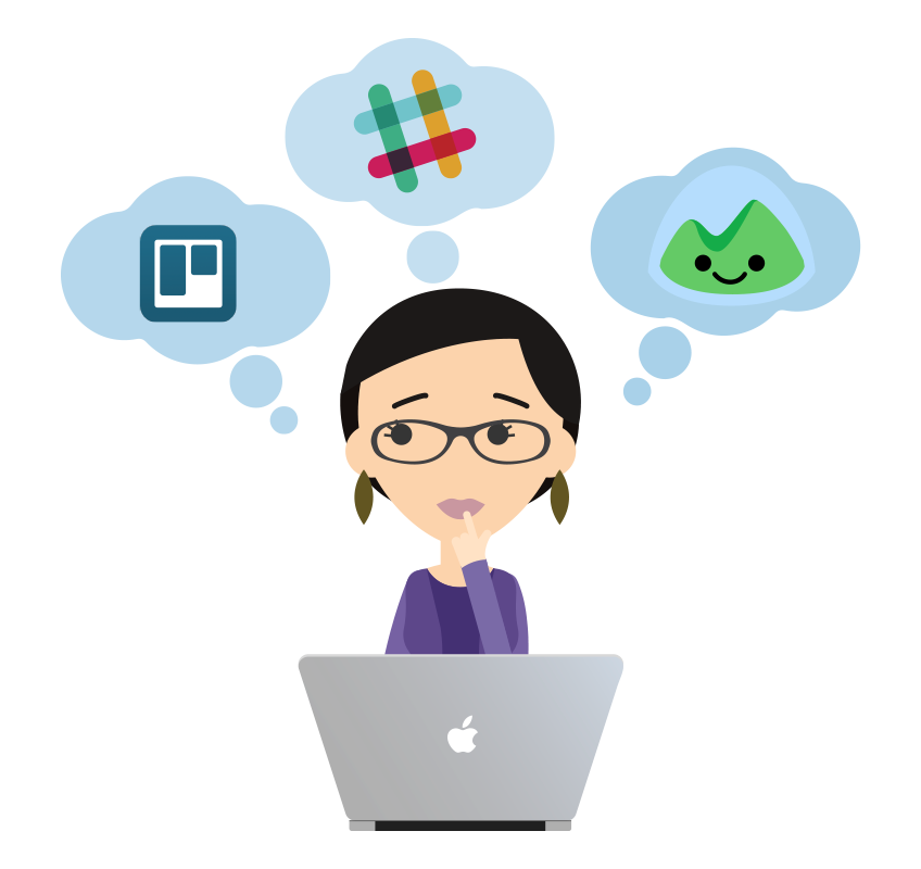 Illustration of Snagged staff member thinking of Trello, Slack and Basecamp