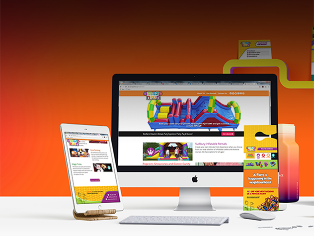 A Maze N Fun website open on a desktop and tablet next to printed promotional material