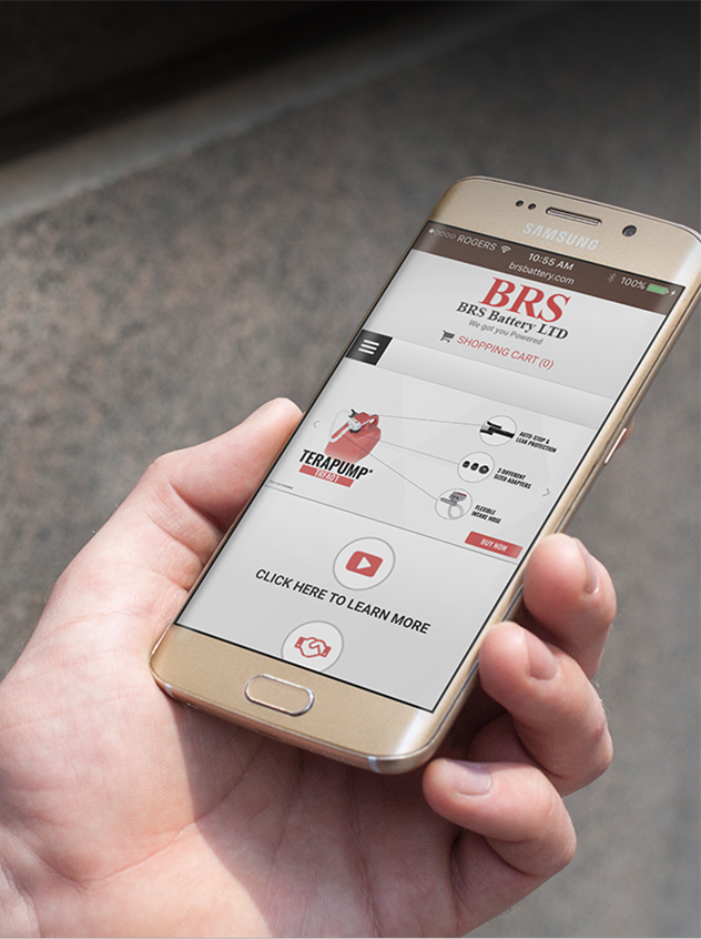 BRS Responsive Website open on a mobile phone