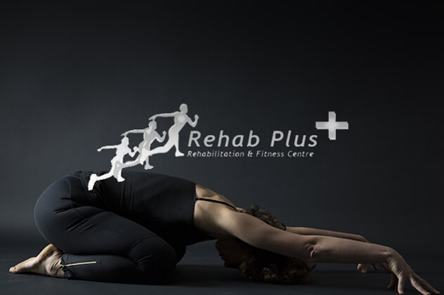 Rehab Plus logo above woman stretching