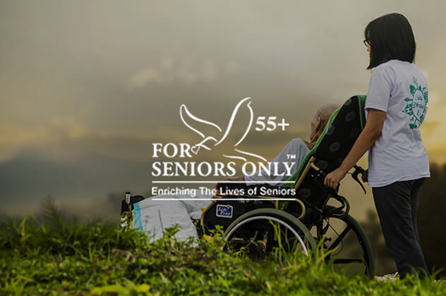 For Seniors Only logo above young girl with senior in wheelchair
