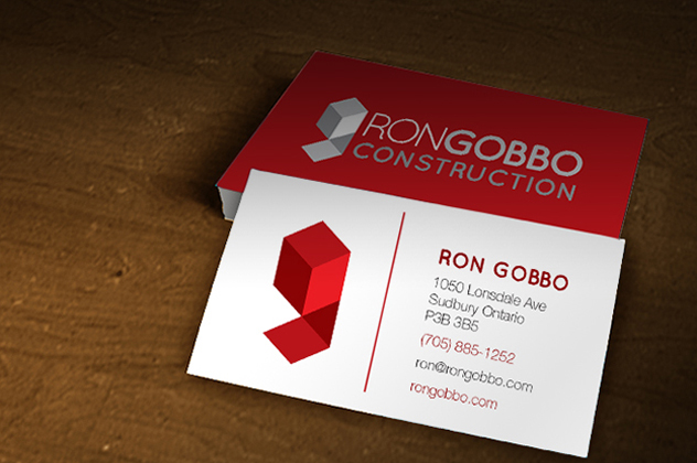 Professionally designed business cards for Ron Gobbo Construction