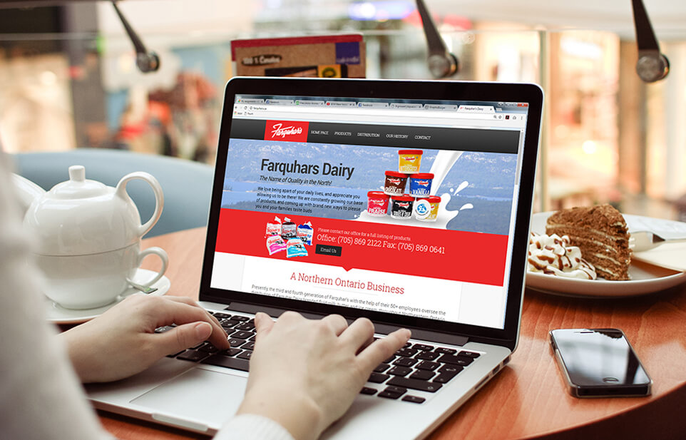 Farquhar's Dairy website open on laptop