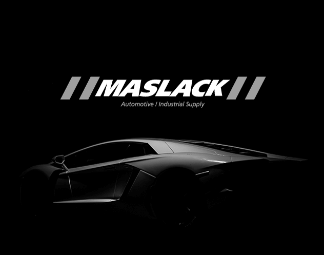 Professionally Designed image of Maslack Logo and a silver car