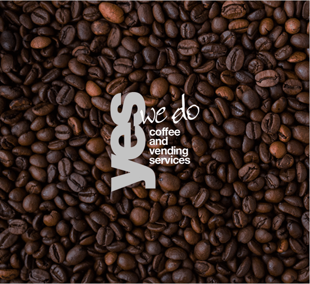 Design of Yes We Do Coffee Logo on top of coffee beans