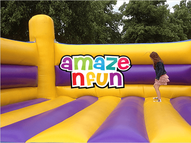 A Maze N Fun Branding & Logo above a professional photograph of young girl jumping in bouncy castle
